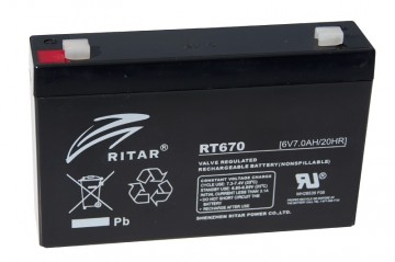 Ritar RT670 AGM Batteri 6V 7AH